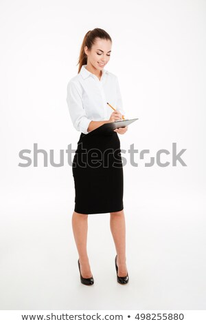 positief · zakenvrouw · witte · vrouw - stockfoto © deandrobot