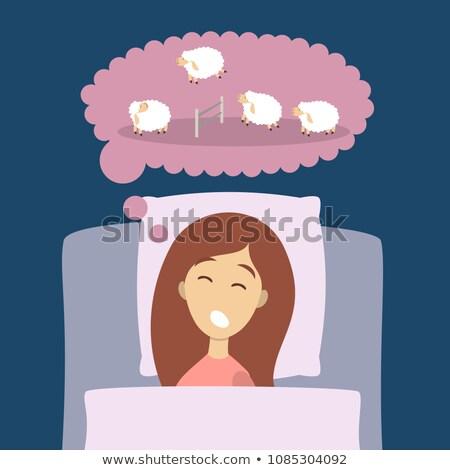 少女 羊 実例 1泊 ベッド 面白い ストックフォト © adrenalina
