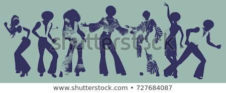 Afro kobieta taniec disco ilustracja uśmiech Zdjęcia stock © adrenalina