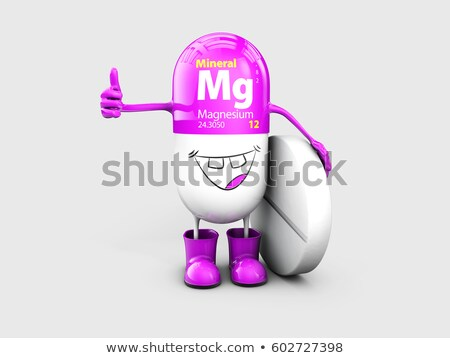 Mineral Mg Magnesium shining pill cartoon capsule icon . 3d illustration Stock photo © tussik