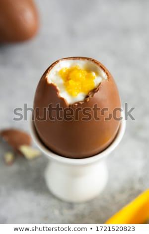 Csokoládé hab húsvéti tojások csokoládé háttér cukorka húsvéti tojás Stock fotó © M-studio