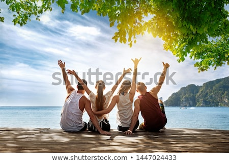 Happy on an island. stock photo © Fisher