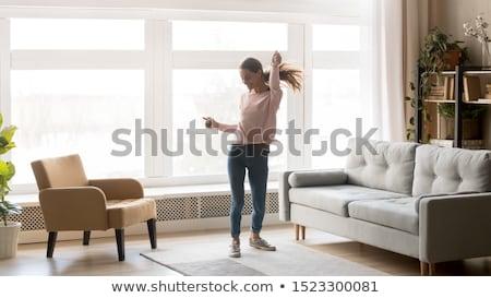 カフェイン · 幸せ · 若い女性 · 音楽 · ヘッドホン - ストックフォト © fisher