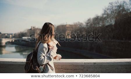 кофе · моста · красивой · долго · вьющиеся · волосы - Сток-фото © Fisher
