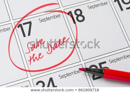 Guardar fecha escrito calendario 17 fiesta Foto stock © Zerbor