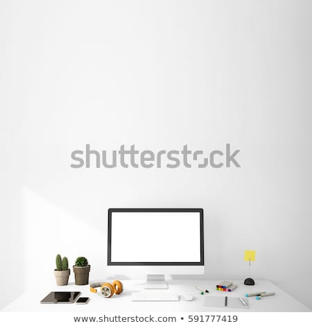 modern work space with laptop mockup on a table Stock photo © manera