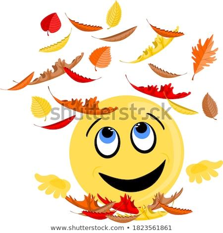 Emoji - enjoy orange with happy smile. Isolated vector. Stock photo © RAStudio
