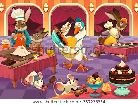 Funny animals are cooking cakes and cookies Stock photo © ddraw