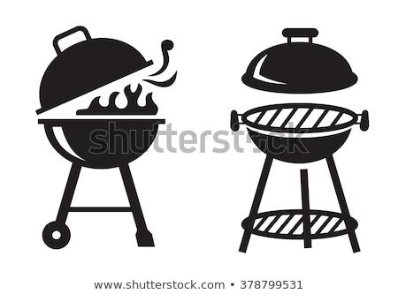 Preto churrasco grelha ícone vetor branco Foto stock © Zhukow