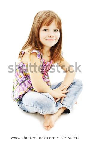 meisje · vergadering · vloer · meisje · benen · Rood - stockfoto © julenochek