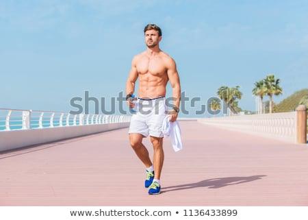 Dopasować człowiek odzież sportowa jogging biały sportu Zdjęcia stock © wavebreak_media