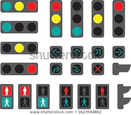 Jaune trafic signal lumière signe ciel bleu Photo stock © njnightsky