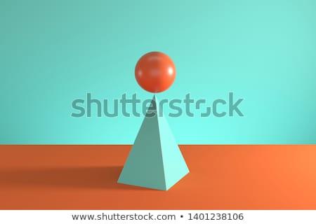 gömbök · piramis · zöld · gyűjtemény · absztrakt · csoport - stock fotó © MONARX3D