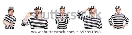 Vicces börtön bennlakó férfi narancs fegyver Stock fotó © Elnur