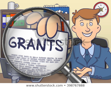 Grants through Magnifying Glass. Doodle Concept. Stock photo © tashatuvango