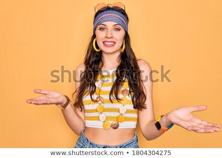 хиппи женщину руки из жест Сток-фото © RAStudio
