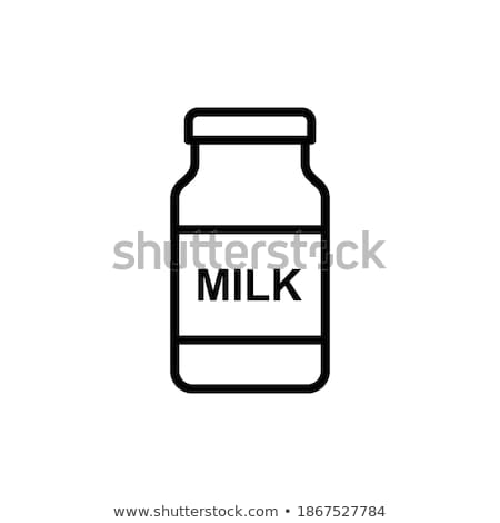milk pack and glass of milkmilk pack and glass of milk icon flat style. Isolated on black background Stock photo © MarySan