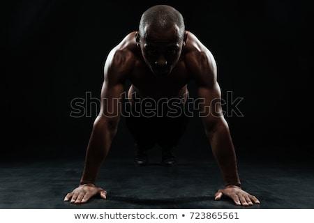 saudável · muscular · homem · isolado · preto - foto stock © deandrobot
