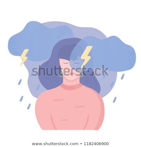 Colère femme Thunder foudre pop art rétro Photo stock © studiostoks