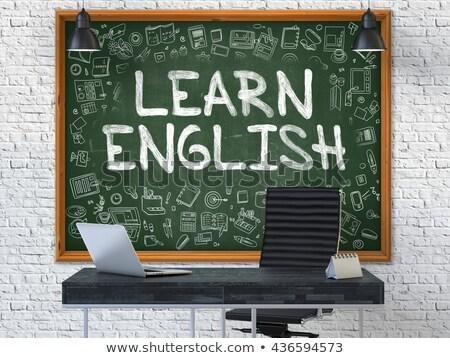 hand drawn learn english on office chalkboard stock photo © tashatuvango