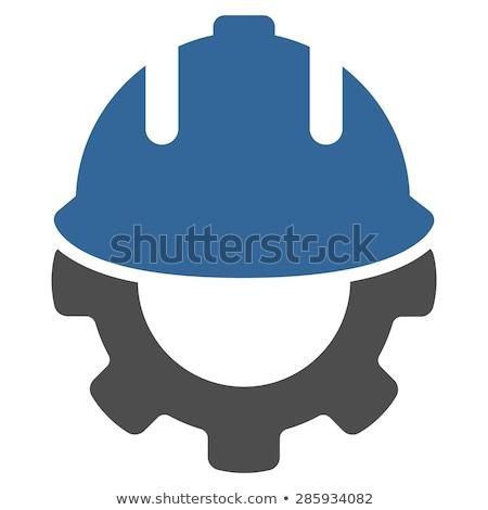 Engineering Icon. Gear and Hard Hat. Development Symbol. Stock photo © WaD