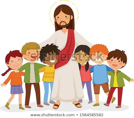 Kid fille hug jesus illustration petite fille Photo stock © lenm