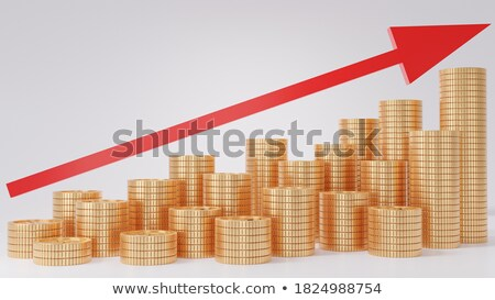 Stack of gold coins bitcoin on a red background Stock photo © artjazz