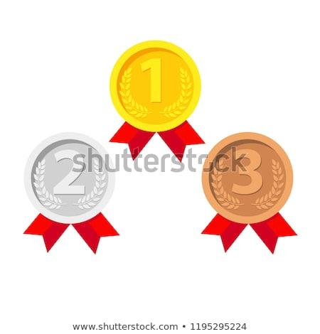Első hely érem forma szalag bajnokság díj Stock fotó © studioworkstock