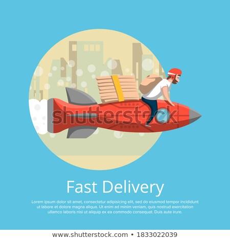 Fast-Food Lieferung Plakat Kurier Rakete Mann Stock foto © studioworkstock