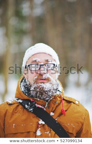 Trekking blizzard arbre homme hiver marche Photo stock © IS2