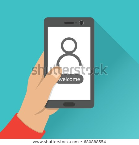 Welcome Notification page on screen. Hand hold smartphone. Flat Style illustration. Stock photo © taufik_al_amin