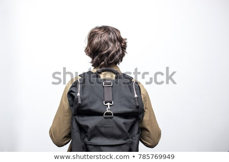 young man with a backpack in the desert Stock photo © nito