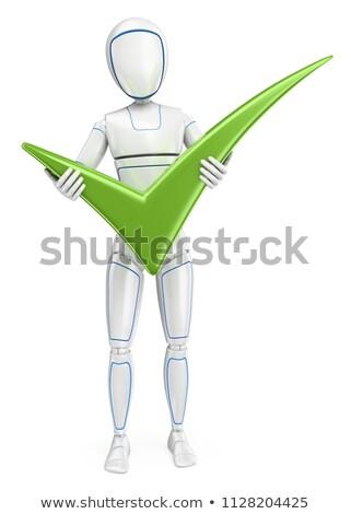 nagy · zöld · 3D · boldog · szavazás · csekk - stock fotó © texelart