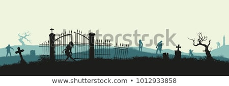 Zombi mezar taşı örnek bebek orman Stok fotoğraf © bluering