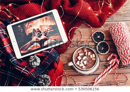 Tablet and hot coffee stock photo © Lana_M