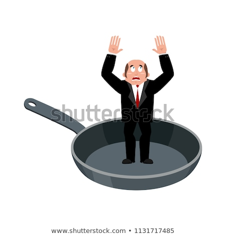 businessman in frying pan sinner in cauldron boss is frying on stock photo © popaukropa