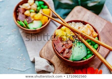 portion of poke   traditional hawaiian dish stock photo © alex9500