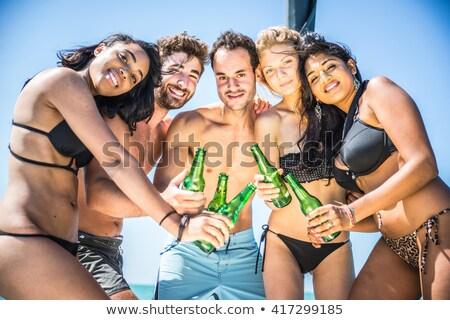 dört · arkadaşlar · yüzme · havuzu · su · aile - stok fotoğraf © deandrobot
