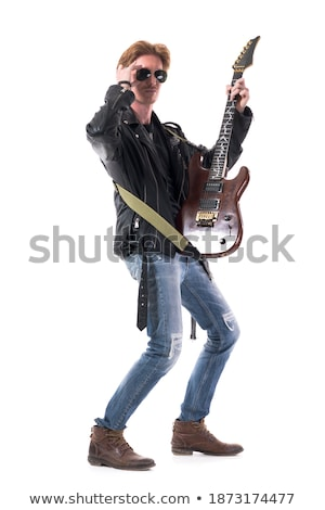 cool guitarist in black leather jacket posing with his guitar Stock photo © feedough