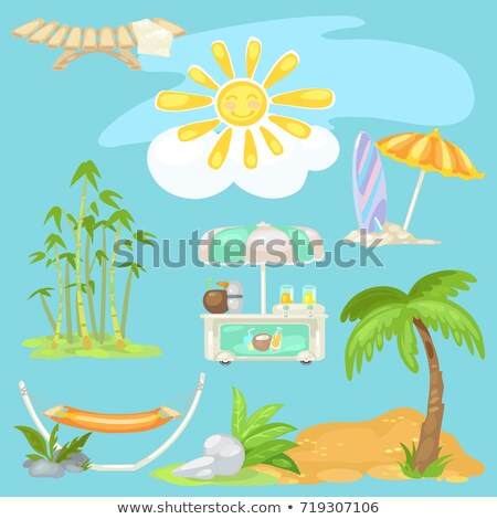 Cute poster on theme of travel. Bright sun on the beach, sunbed, palm tree on sandy beach, cooler of Stock photo © Lady-Luck