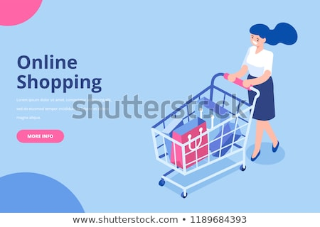 buy screen of smartphone with shopping cart woman stock photo © robuart