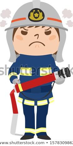 Desenho animado zangado bombeiro mulher olhando Foto stock © cthoman
