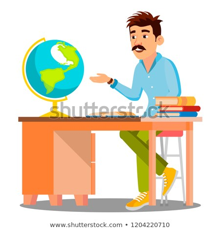 geography teacher in glasses sitting at table with books and globe vector isolated illustration stock photo © pikepicture