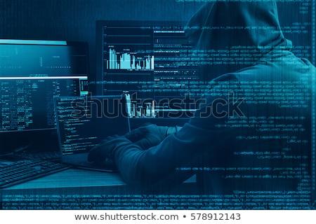vector · manos · ladrón · arma · laptops · Screen - foto stock © -talex-