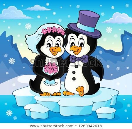 Pinguino wedding immagine fiore amore Coppia Foto d'archivio © clairev