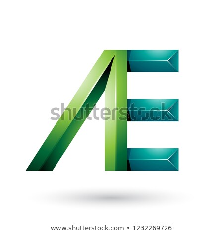 Light and Dark Green Pyramid Like Dual Letters of A and E Vector Stock photo © cidepix