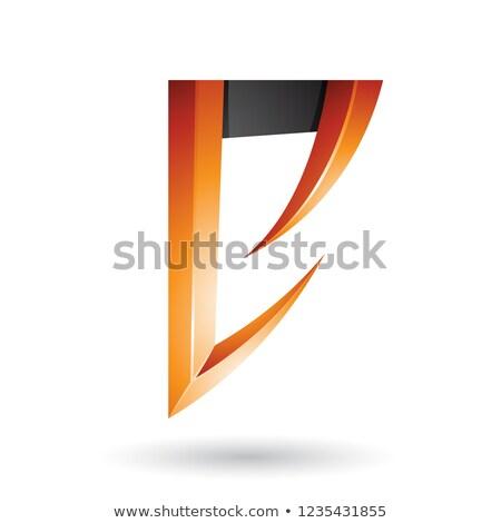 Orange and Black Arrow Shaped Letter E Vector Illustration Stock photo © cidepix