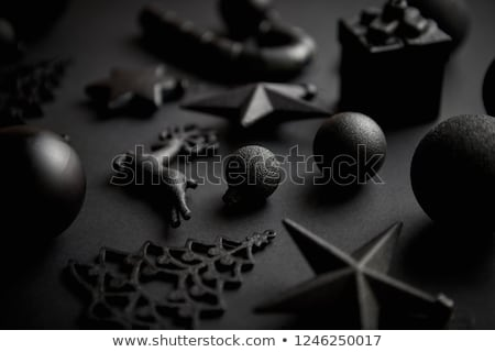 Christmas minimalistic and simple composition in mat black color Stock photo © dash