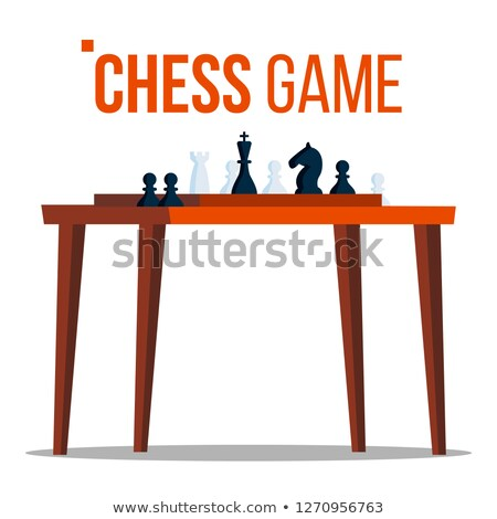 Chess Game Vector. Figures On The Table. Pieces. Logical Sport Game Tournament. Isolated Flat Cartoo Stock photo © pikepicture