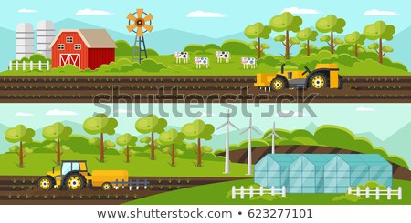 Greenhouse and Tractor Farm Vector Illustration Stock photo © robuart